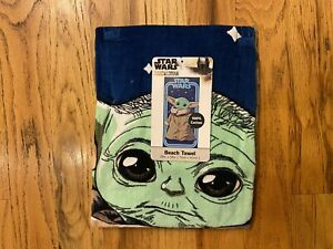 "NEW Disney Star Wars The Mandalorian Baby Yoda Beach Towel 28"" x 58"" FREE SHIP"