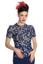 Hell Bunny Oceana Nautical Sailor Vintage Retro 50s Rockabilly Blouse Top Shirt