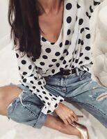 Women Polka Dots Long Sleeve Blouse Oversized Loose Top Casual Elegant Shirt