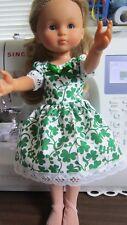 "White with Green Shamrocks Dress,  fits 13"" Corolle Les Cherie dolls"