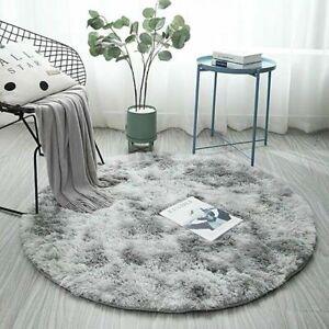 Teppich Rund Grau 100 120 160 Hochflor Zimmerteppich Kinderzimmer Shaggy Matte D