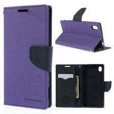 Korean Mercury Goospery Fancy Diary Wallet Case Cover for Sony Xperia M4 Purple