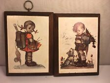 Vtg Hummel Small Wood Wall Plaque Set of 2 Girl Boy Dog Apples Worn 5� X 7�
