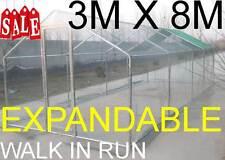 CHICKEN RUN 3M X 8M WALK IN COOP FOR POULTRY DOG RABBIT HEN CAGE PEN METAL DOOR