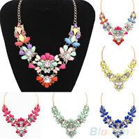 EG_ HK- Crystal Flower Bib Statement Necklace Nobby Bubble Choker Collar Pendant