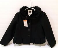 Gymboree Black Formal Coat Girls 4T-5T Fur Trim City Kitty Jacket NEW