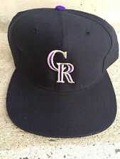 Colorado Rockies Baseball Hat Cap New Era Black Wool Snapback Pro Model