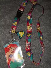 Disney The Little Mermaid Ariel ID Card Key Holder Lanyard & Cute Flounder Charm