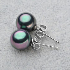 6Colors 10mm South Sea Shell Pearl Round Beads Silver Stud Earrings AAA Grade