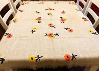 "Vintage Orange Yellow & Black Floral Embroidered Ecru 51x63"" Tablecloth (RF1078)"