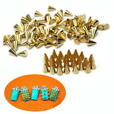 100PCS Metal Punk Cone Nail Art Spikes Bullet Stud Studded Decoration DIY VVM