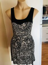 Ladies QUIRKY CIRCUS Dress Black White Size 10 Fitted Sleeveless Tie Up Short