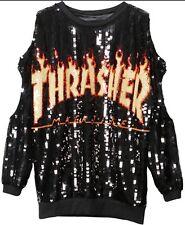New Black Thrasher Magazine Sequin Embellished Cut-Out Sweatshirt Top Dress OS