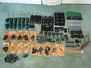 American Flyer Huge Lot Parts/Accessories-bumpers/couplers/buttons/track locks+