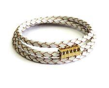 Gold Screw WhiteTriple Leather Wrap Bracelet