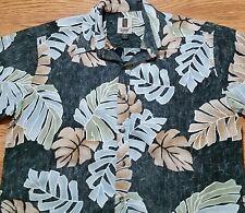 Tori Richard Hawaiian Made Button Shirt (L) Reverse Print - Black w/ Leaf Print