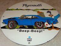 "VINTAGE NOS 1967 ""PLYMOUTH ROAD RUNNER"" 11 3/4"" PORCELAIN METAL CAR GAS OIL SIGN"