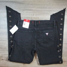 Guess Jeans Womens 26 Caro Grommet Skinny Black Stretch Rock Moto $128 A3