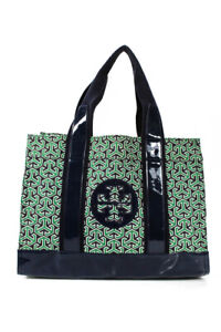 Tory Burch Womens Canvas Patent Leather Printed Tote Green Large Handbag