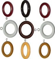 Quality Wood Wooden curtain Pole Rod Spare Rings Hanging 3 Sizes Hooks 6 colors