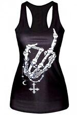 Gypsy Flash Tank Top Shirt Skull Hand Tattoo Punk Pinup Skeleton Zombie Wica M