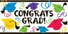Amscan Congrats Grad Hats Multi Coloured Horizontal Scene Setter Banner