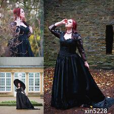 Long Sleeve Fall Winter Gothic Wedding Dress Black Bridal Gown Custom Plus Size
