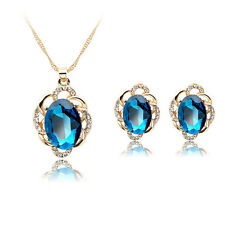 New Luxurious Blue Rhinestones Alloy Necklace Earrings Pendant Jewellery Set