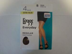 Leggs Women's Pantyhose Everyday B Nude Sheer Toe Regular Extra Value 4 Pair
