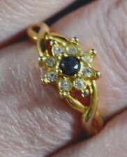 Glass Gold Ring Vintage Costume Jewellery (Unknown Period)
