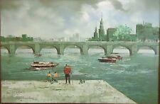 Oil Painting on Canvas Charles Bridge Cicero Scene Signed Roland 36x24 Framed