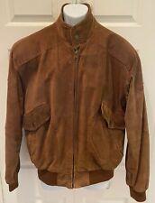Vintage MEMBERS ONLY Brown Suede Leather Bomber Harrington Zip Jacket 44 Plaid