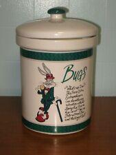 1992 Bugs Bunny Ceramic Cookie Jar Canister + Lid, Warner Bros. Studio, Suit Hat