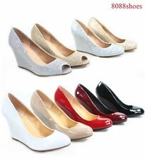 Women's Round Closed  Open Toe Wedge Platform High Heels Shoes Size 5 -10 NEW