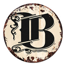 CP-0002 Alphabet Initial Name Letter B Rustic Chic Tin Circle Sign  Decor Gift