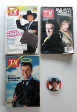 LARRY HAGMAN & DALLAS SET - 3 TV GUIDES & J.R. EWING FOR PRESIDENT BUTTON