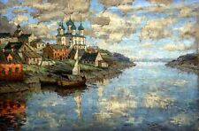 Oil painting Gorbatov Konstantin View from the river to the old town Hand painte