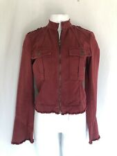 Joie Maroon Jean Jacket Raw Frayed Bell Sleeves Military Moto Style Size S