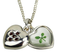 Birthstone Necklace Pendant with Lucky Real Four Leaf Clover GiftBox Certificate
