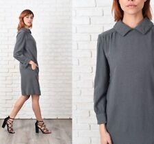 Vintage 70s Gray Wool Mod Dress Shift Long Sleeve Knee length Small S