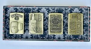 Jack Daniels Old No 7 Windproof Oil Lighter Gift 4 PCS Set Use With Zippo Fluid