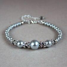 Light grey pearls crystals beaded bracelet silver wedding bridesmaid accessory