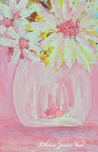 Yellow Daisy Cottage Chic Floral Painting Farmhouse Flower Art Katie Jeanne Wood