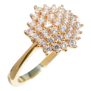 Ah! Jewellery® 18k Gold Filled Cluster Ring With Simulated Diamonds. Stamped GL.