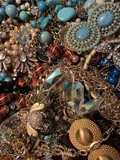Over 1 lb pound vintage and newer jewelry for crafts re purpose G