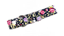 Martingale Dog Collar BLACK FLORAL BLOOM Greyhound LURCHER WHIPPET All SIZES