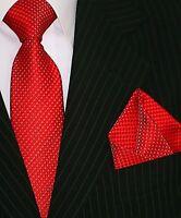 Binder de Luxe Designer Krawatte Einstecktuch Krawatten Set Tie 126 rot