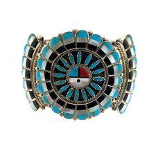 Zuni Sterling Silver Inlay Sun Chief Needlepoint Cluster Bracelet Cuff