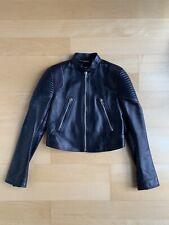 b9e19d37dcb6 GIVENCHY Black Leather Jacket Moto Biker Zip Up Long Sleeve Jacket Size 38