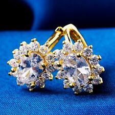 Elegant For Women Girls Clear Oval Cubic Zircon Gold Plated Hoop Earring